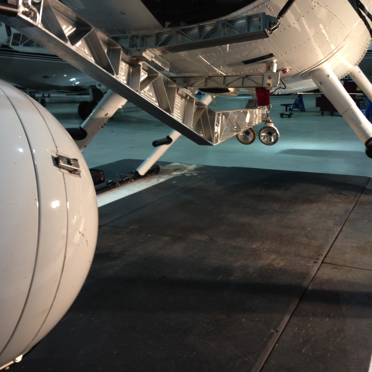 MD500 lights night camera on helicopter